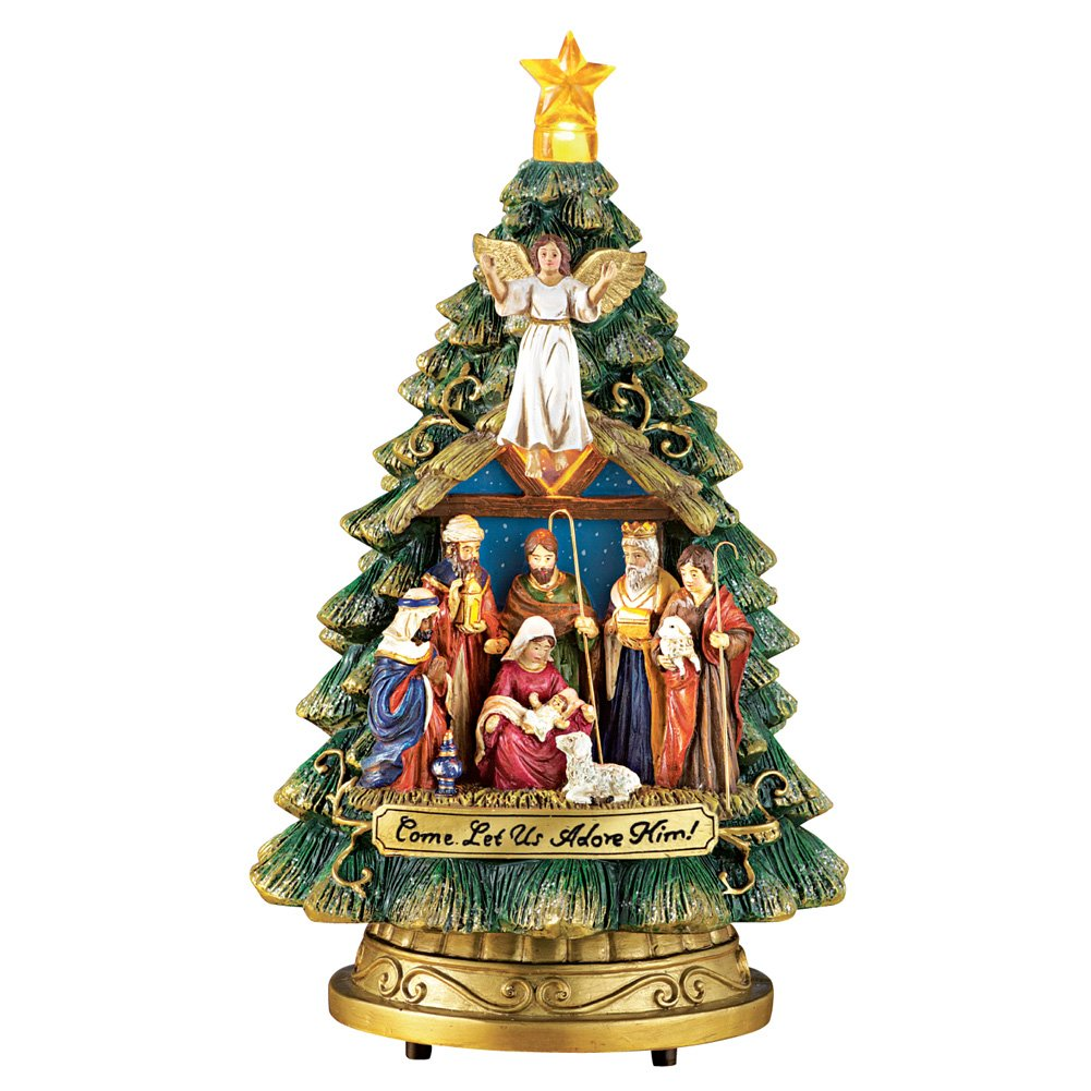 Image of Beautiful Lighted Nativity Musical Christmas Tree Figurine