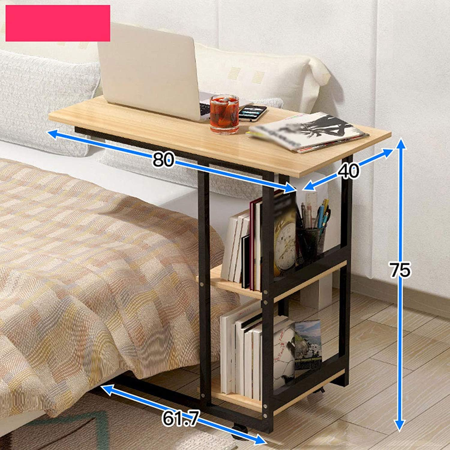 Bedside Laptop Desk, Removable Bedroom Living Room Small Coffee Table Bedside Table Sofa Side Cabinet Portable Table (color   4, Size   80  40  75cm)