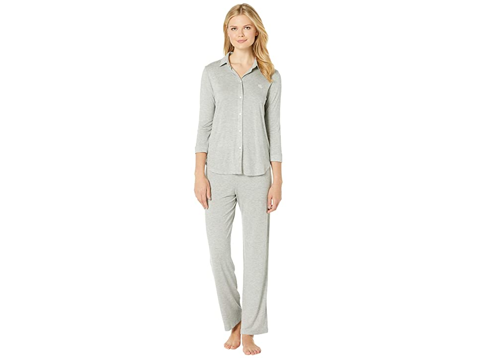 LAUREN Ralph Lauren His Shirt Long Pajama Set (Grey Heather) Women