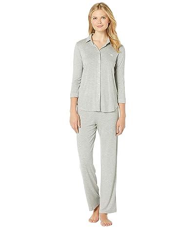 LAUREN Ralph Lauren His Shirt Long Pajama Set (Grey Heather) Women