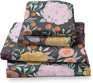 black floral bed sheets