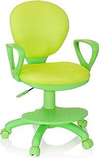 hjh OFFICE 670979 Chaise de Bureau pour Enfant Kid Colour Tissu Vert Fauteuil pivotant pour Enfant avec Repose-Pieds et As...