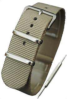 【ベージュ 20mm】NATOタイプ ナイロン ベルト ストラップ 腕時計 11Straps【バネ棒外しセット】