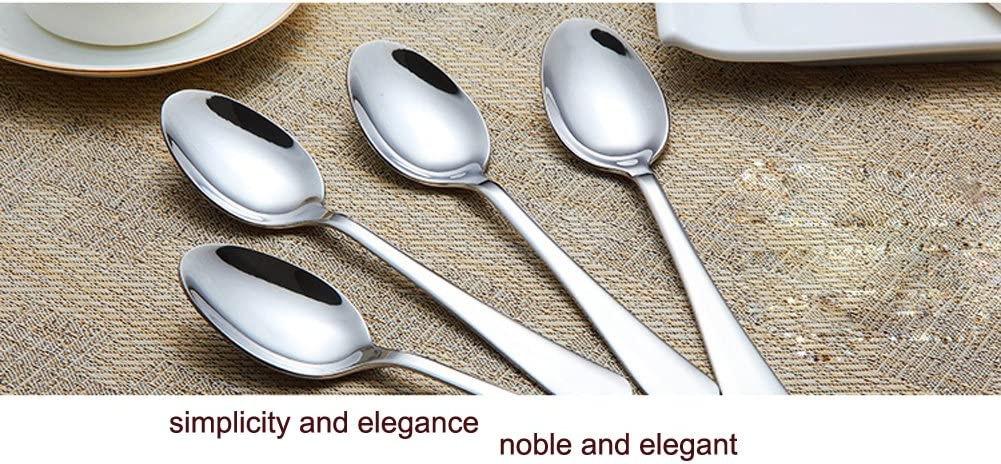 Set of 6 Stainless Steel Dinner Spoon 7.1 Inches Silver