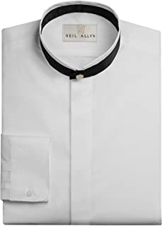 Neil Allyn Men's Banded Collar with Black Trim Dress Shirt