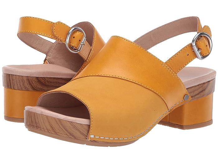70s Shoes, Platforms, Boots, Heels Dansko Madalyn Mango Burnished Calf Womens Wedge Shoes $139.95 AT vintagedancer.com