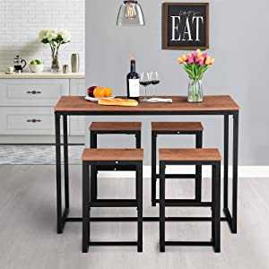 5 Piece Kitchen Dining Table Set for 4, Dining Room Table Set for Small Spaces w/Metal Legs,Modern Breakfast Nook Home Furniture PVC Bar Table Set Rectangular, Square Brown, 4 Chairs