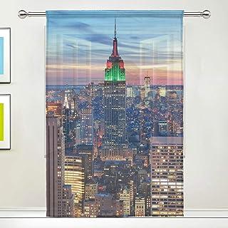 Rideau de Voilage crépuscule Manhattan New York City bâtiment Rideaux de fenêtre Voile Tulle, 1 Panneau pour la Cuisine à ...