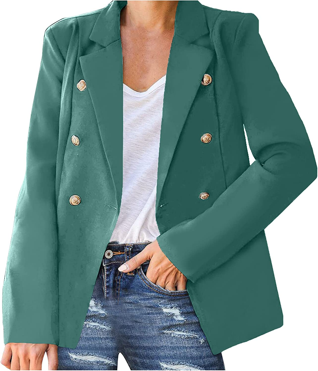 WUMAWEI cheap Women's Casual Lapel Button Blazer Jacket New mail order Color Su Solid