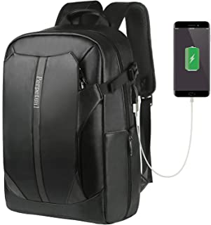 Perpetual リュック メンズ 大容量 極上レザー 革 15.6インチPC収納 防水 盗難防止 キャリーオン USBポート メガネホルダー カードポケット付き ビジネス 通勤 通学 出張 旅行用