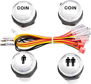 Easyget 4 Pcs/Lot 5V LED Illuminated Push Button 1P / 2P Player Start Buttons / 2X Coin Buttons for MAME / Jamma / Fighting Games / Arcade Video Games
