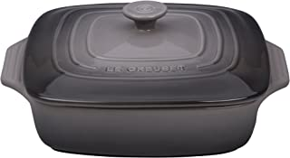 "Le Creuset PG13573A-247F Stoneware Covered Square Casserole, 2.75 qt. [9.5""], Oyster"