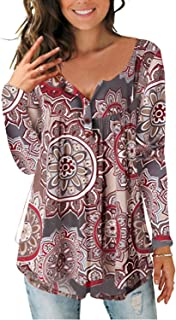 Women's Paisley Printed Button Top Long Sleeve V Neck Pleated Casual Flare Tunic Loose Blouse Shirt
