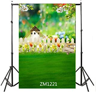 10x15FT-Spring Meadow Windmill Baby Photography Backdrops Children Easter Eggs Fence Flower Photo Studio Background