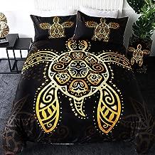 Sleepwish Boho Sea Turtle Bedding Tribal Honu Duvet Cover 3 Pieces Intricate Gold Swirls Tortoise Animal Print Black Bedspread (King)