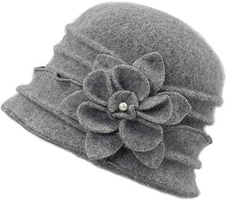 Women's Elegant Flower Wool Cloche Bucket Slouch Hat
