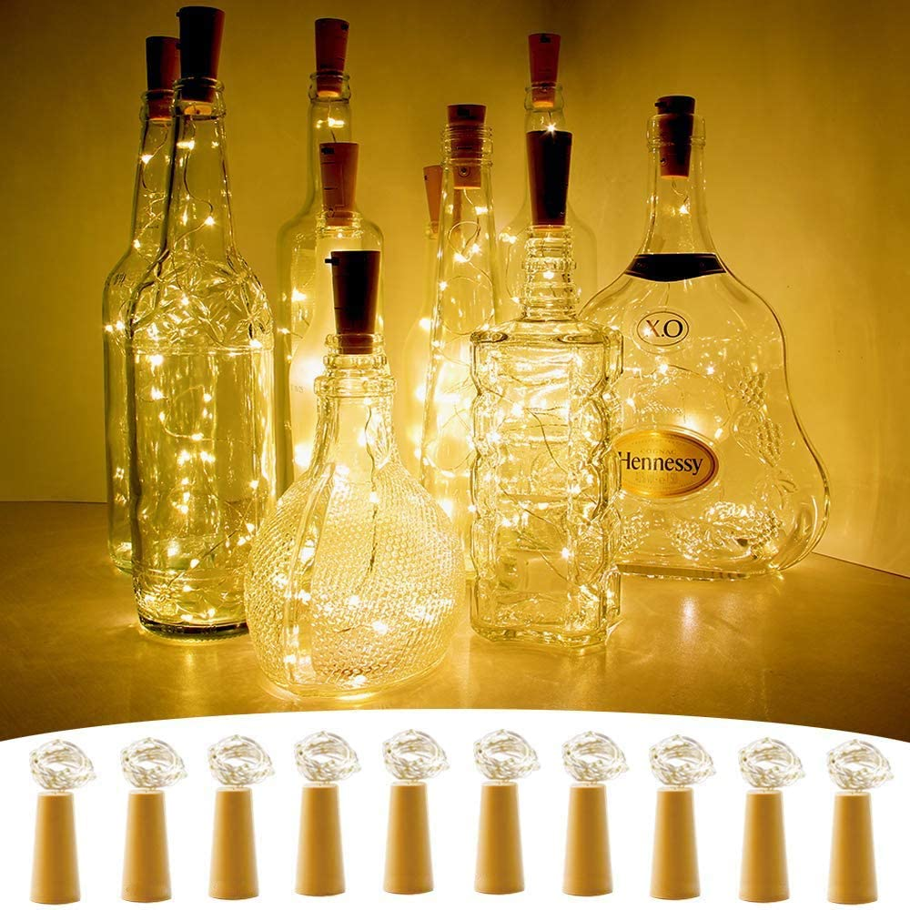 CYLAPEX 10 Pack Wine Bottle with Cork LED Large-scale sale 20 Don't miss the campaign Lights