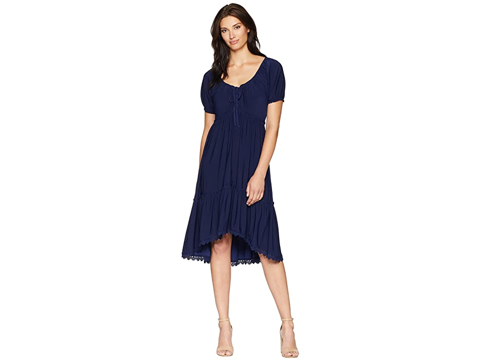 Anne Klein Peasant Short Sleeve Fit Flare Shirtdress (Eclipse) Women