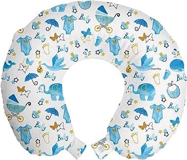 Ambesonne Baby Travel Pillow Neck Rest, Its a Boy Stork Carrying a Baby Elephants Clothes Butterflies Print, Memory Foam Trav