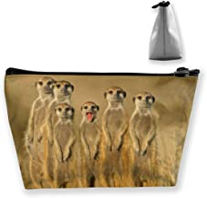 Funny Four Meerkats Animal Cosmetic Bags Toiletry Organizer Bag For Womens Multifunction Brush Makeup Pouch Pen Pencil Power Lines Travel Cases Accessories Storage