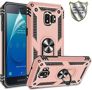 Galaxy J2 Core Phone Case,Samsung Galaxy J2/Galaxy J2 Dash/Galaxy J2 Pure Case with HD Screen Protector,Gritup 360 Degree Rotating Metal Ring Holder Kickstand Phone Case for Galaxy J2 Core Rose Gold