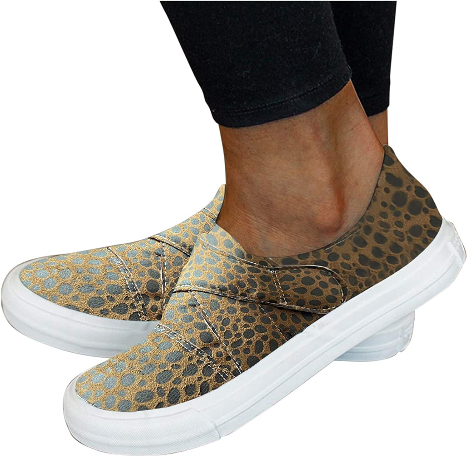 Womens Walking Shoes Slip On Sneakers,Canvas Shoes Women's Casual Round Toe Sport Shoes Hollow Flat Running Shoes Loafers