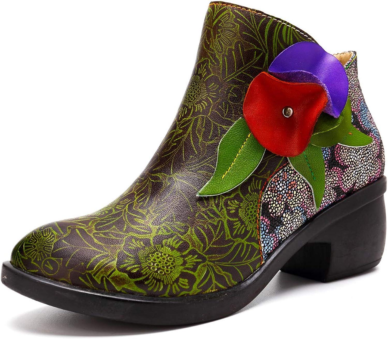RSHENG Ankle Lederstiefel, Damen Winter warme Stiefel handgefertigte spleien Schuhe Schnalle Strap Block Ferse seitlichem Reiverschluss Stiefelies auf Outdoor Wanderschuhe