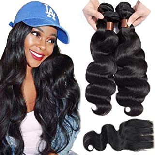 Angie Queen Brazilian Virgin Body Wave Hair 4 bundles With Three Part Closure 100% Unprocessed Human Hair Weave Weft with Lace Closure Natural Black Color 20 22 24 26+18 Closure