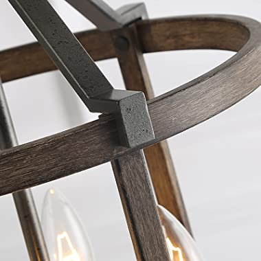 """LNC Farmhouse Chandeliers for Dining Rooms with Faux Wood Finish, W13""""xH17.1"""