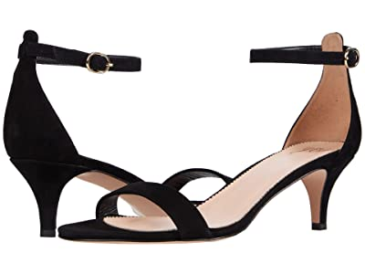 J.Crew Basic Kitten Heel Sandal (Black Suede) Women