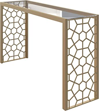CosmoLiving by Cosmopolitan CosmoLiving Juliette Glass Top, Gold Metal Console Table