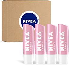NIVEA Shimmer Lip Care - Tinted Lip Balm for Beautiful, Soft Lips - Pack of 4