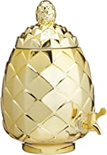 BarCraft Tropical Chic Glass Pineapple Drinks Dispenser, 6 litres (10.5 Pints) - Metallic Gold Finish