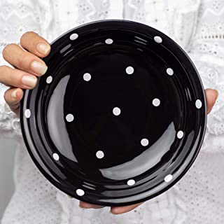 City to Cottage Handmade Black and White Pottery Polka Dot Glazed 7.3inch/18.5cm, 14oz/400ml Salad, Pasta, Fruit, Cereal, Soup Bowl | Unique Ceramic Dinnerware, Housewarming Gift