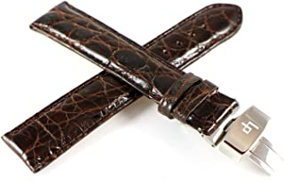 Lucien Piccard 20MM Real Crocodile Skin & Genuine Leather Watch Strap Brown w/Stainless Butterfly Clasp