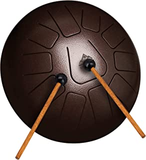 EASTROCK Steel Tongue Drum 11 Notes 10 Inch Percussion Instrument Handpan Drum C Key Panda Tank Drum for Meditation Entert...