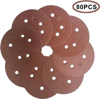 5-Inch Sanding discs 125mm random orbital sander pads 40 60 80 120 240 320 800 1000 Grit 8-Hole Sandpaper Assorted for wood 80PCS