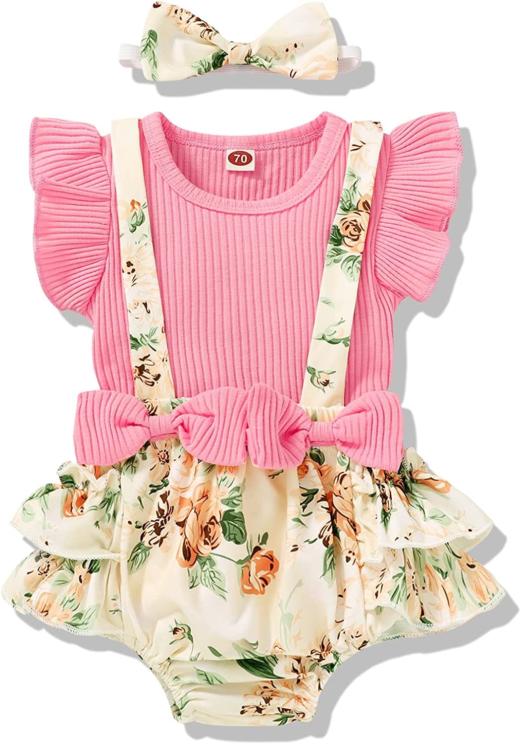 Newborn Infant Baby Girl Summer Clothes Floral Outfits Ruffle Sleeve T-Shirt Tops Suspender Shorts with Headband