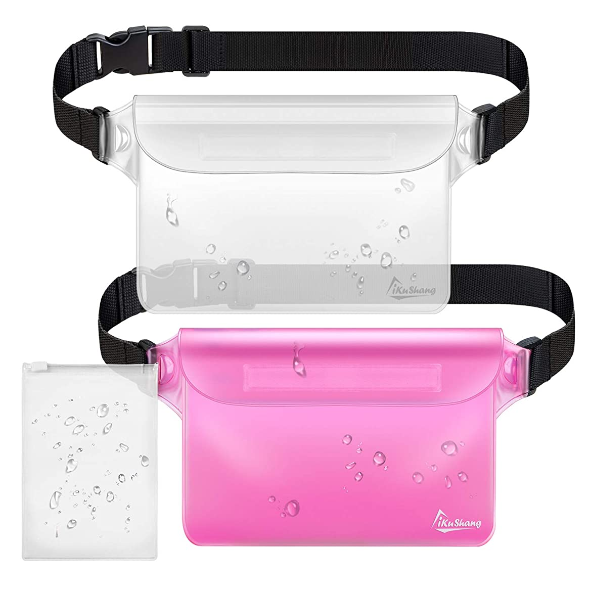 iKuShang Waterproof Pouch 2 Pack/3 Pack Waterproof Fanny Pack Waterproof Phone Case Waterproof Wallet Protect Your Valuables Safe & Dry Perfect for Boating Swimming Beach Pool Water Parks