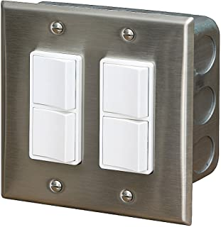Infratech 14 4305 Accessory - Dual Duplex Switch Wall Plate and Gang Box 20 Amp Per Pole, Patio Heater Switch and Wall Plate