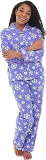 Women's Warm Flannel Pajama Set, Long Winter Christmas Button Down Cotton Pjs