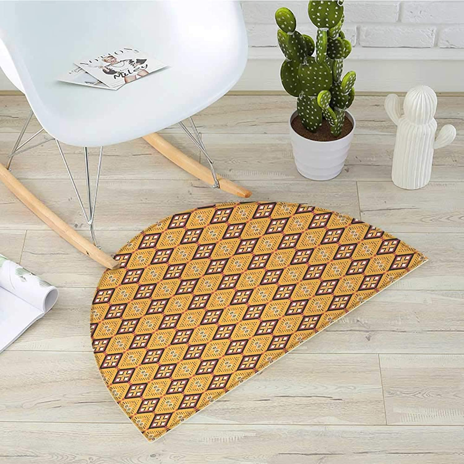 African Semicircular CushionTribal Tile Pattern with Diamond Line Motifs Ancient Cultures Entry Door Mat H 39.3  xD 59  Mustard Dried pink Charcoal Grey