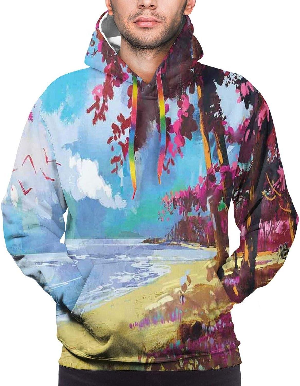 Men's Hoodies Sweatshirts,Floral Bullseye Pattern On A Bicolor Polka Dotted Background Doodle Design