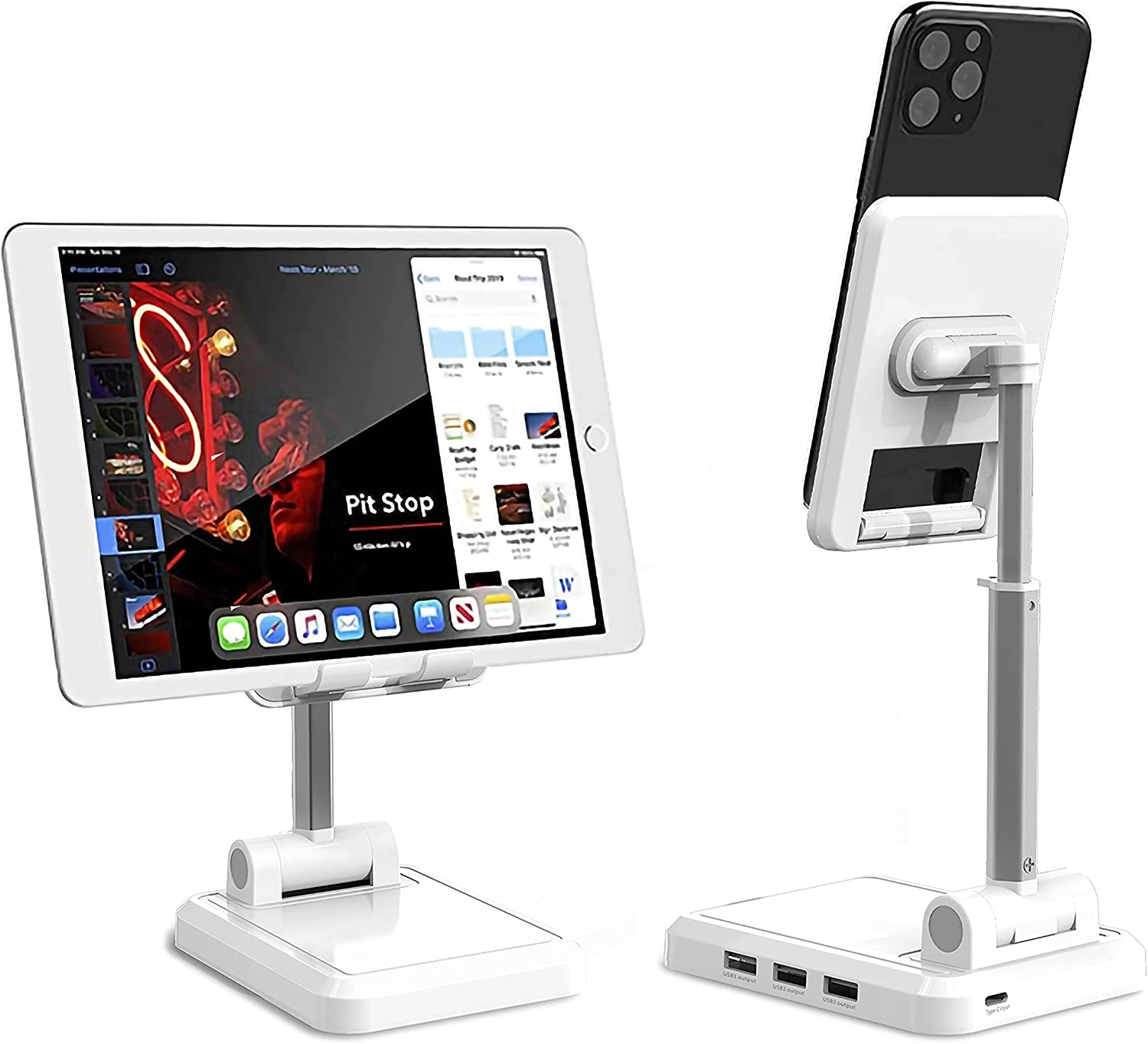 WATERNEST,Tablet Stand Adjustable,Phone Holder, Adjustable Angle Desktop Phone Holder, Mobile Phone Holder with USB Charging Ports, Suitable for iPhone, iPad, Tablet Computers