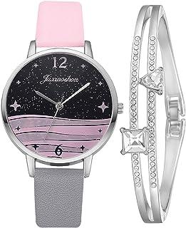 MGCG Quadrante a foglia di orologio al quarzo semplice e alla moda, semplice cinturino in lega da donna intarsiato con str...