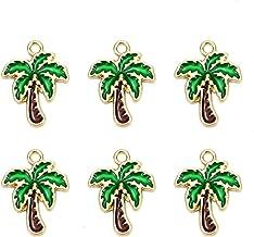 15pcs Enamel Coconut Tree Charms Pendant for Bracelet Jewelry Ornaments 23057