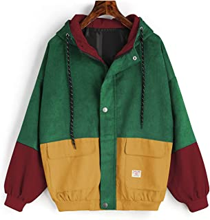 Women's Corduroy Loose Hooded Jacket Vintage Color Blocking Raglan Sleeve Casual Coat Windbreaker