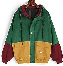 ZAFUL Women's Corduroy Loose Hooded Jacket Vintage Color Blocking Raglan Sleeve Casual Coat Windbreaker