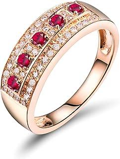 ButiRest - Anello in oro rosa 18 carati 18 carati, con 4 denti taglio rotondo 0,15 carati rosa rosso rubino VS e diamante ...