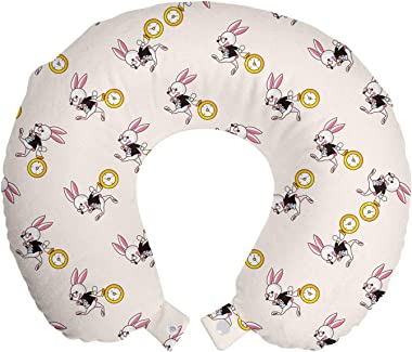 "Lunarable Alice in Wonderland Travel Pillow Neck Rest, White Rabbit Dancing in The Sky Fantasy World and Alice Theme, Memory Foam Traveling Accessory for Airplane and Car, 12"", Pink Black Yellow"